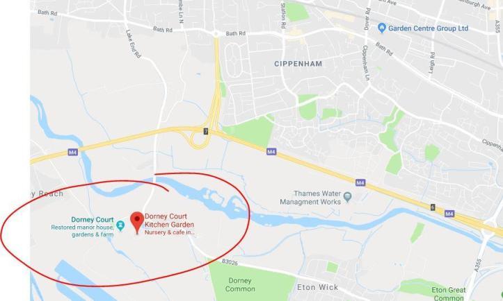 Dorney Court Map for National Trust - M4 alternative stops