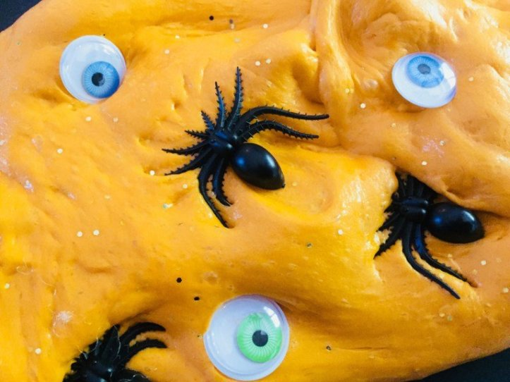 fluffy Pumpkin Easy Halloween slime recipe to make with kids