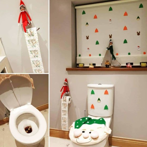 elf on the shelf ideas that are easy - decorate your bathroomm