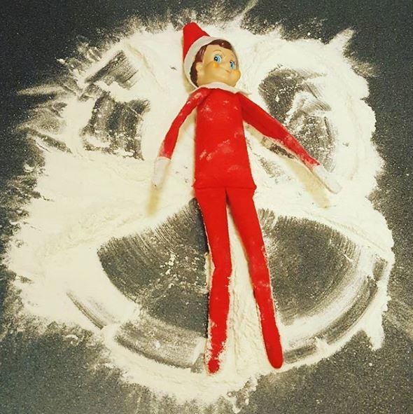 elf on the shelf ideas that are easy - making snow angels