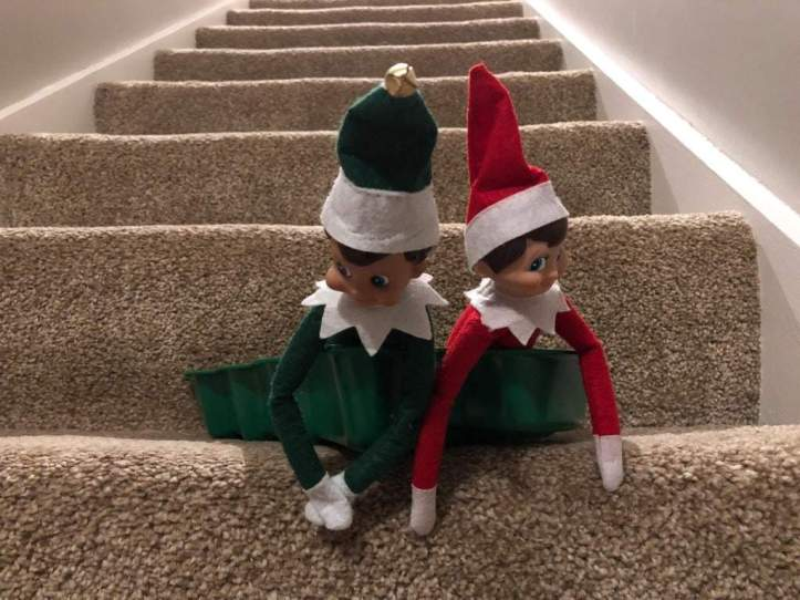 elf on the shelf ideas that are easy - elf skiing down stairs