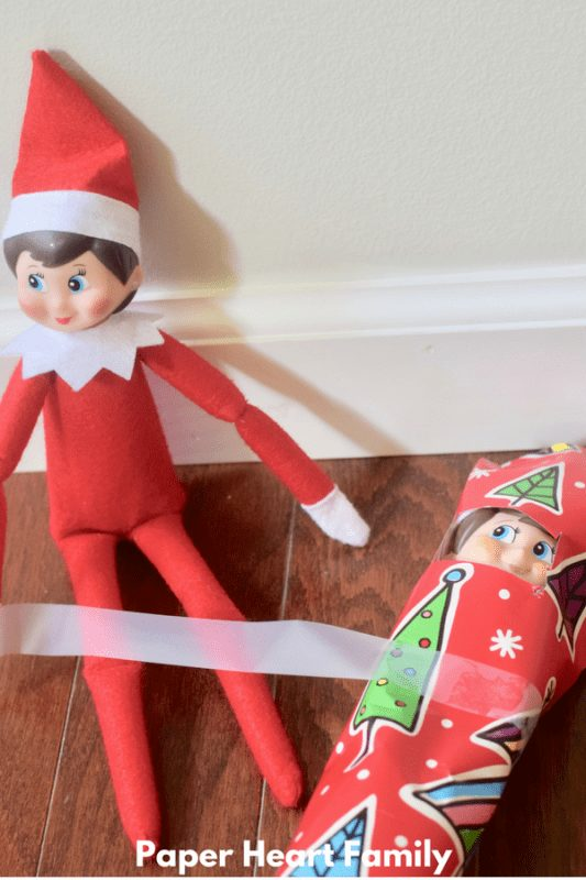 elf on the shelf ideas that are easy - wrap your elf