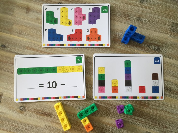 mathlink cubes review with learning resources activity cards
