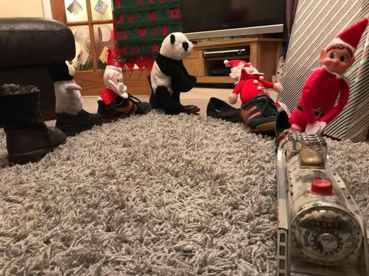 elf on shelf shoe train trick with animals and teddy bears