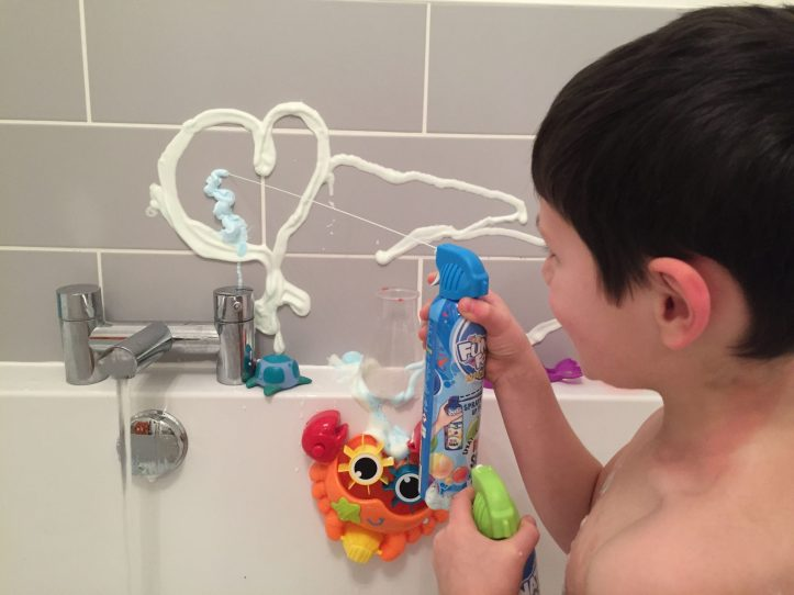 funatic foam bath and shower review - foam spray on wall