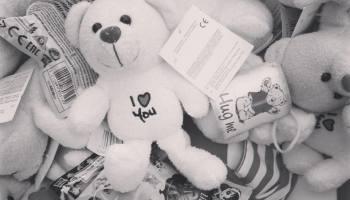 donated teddybears in a warehouse