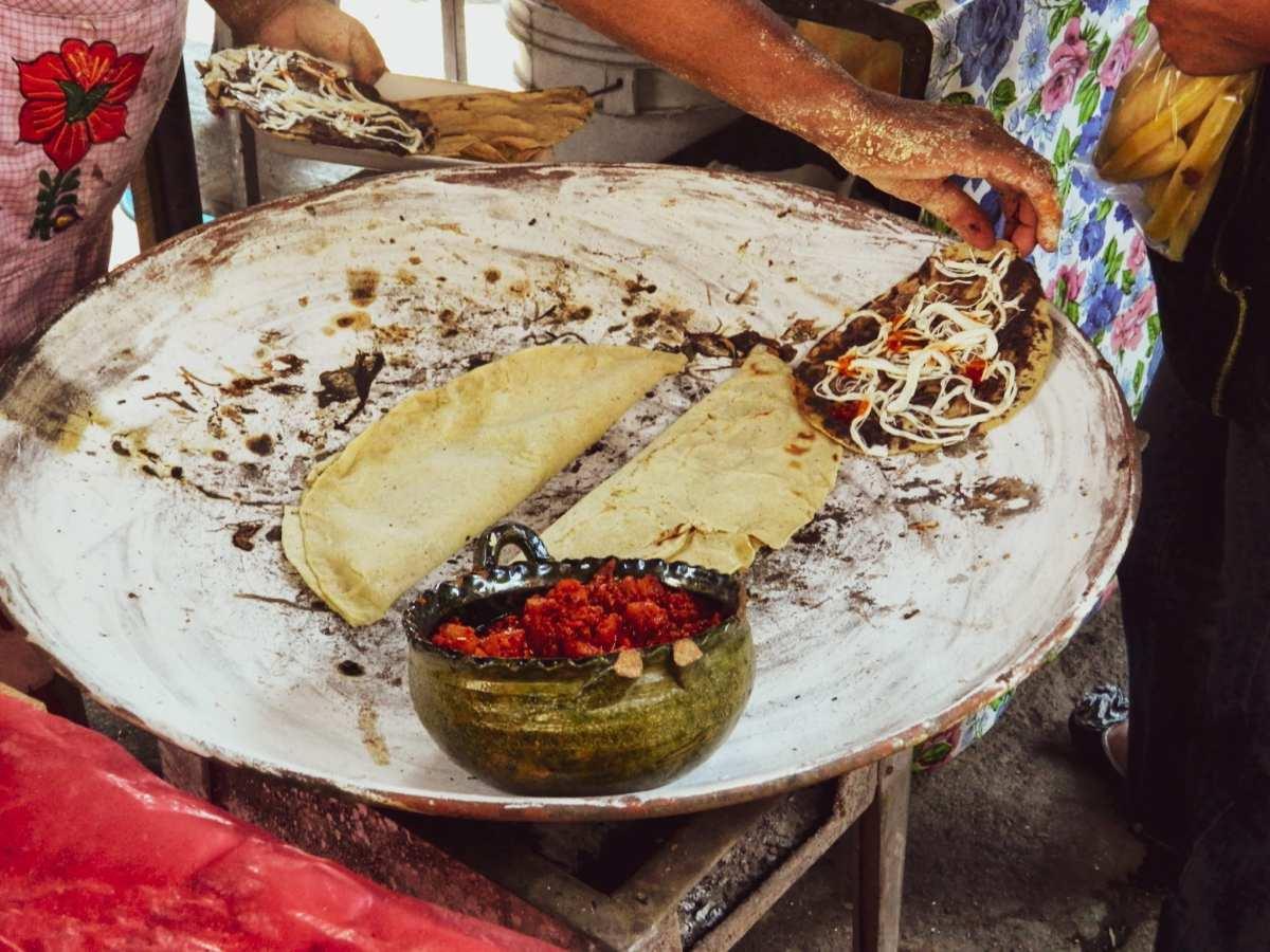 Memelas and Quesedillas on a comal