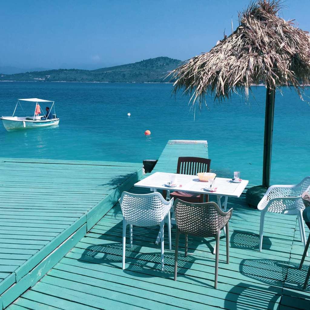 Cute aquamarine breakfast spot on a Ksamil beach