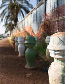 Art pieces along a path in Palermo Italy (Sicily)