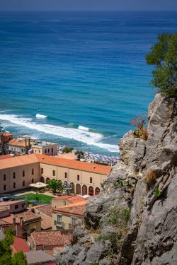 Stunning view of the colourful ocean from the Rocca di Cefalu in Sicily (Italy)