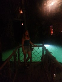 Roberta in front of the diving pool