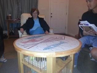 Grandma admires Mike's work