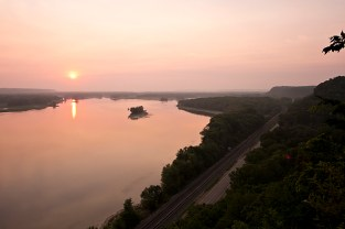 Mississippi Palisades Sunset with Railroad