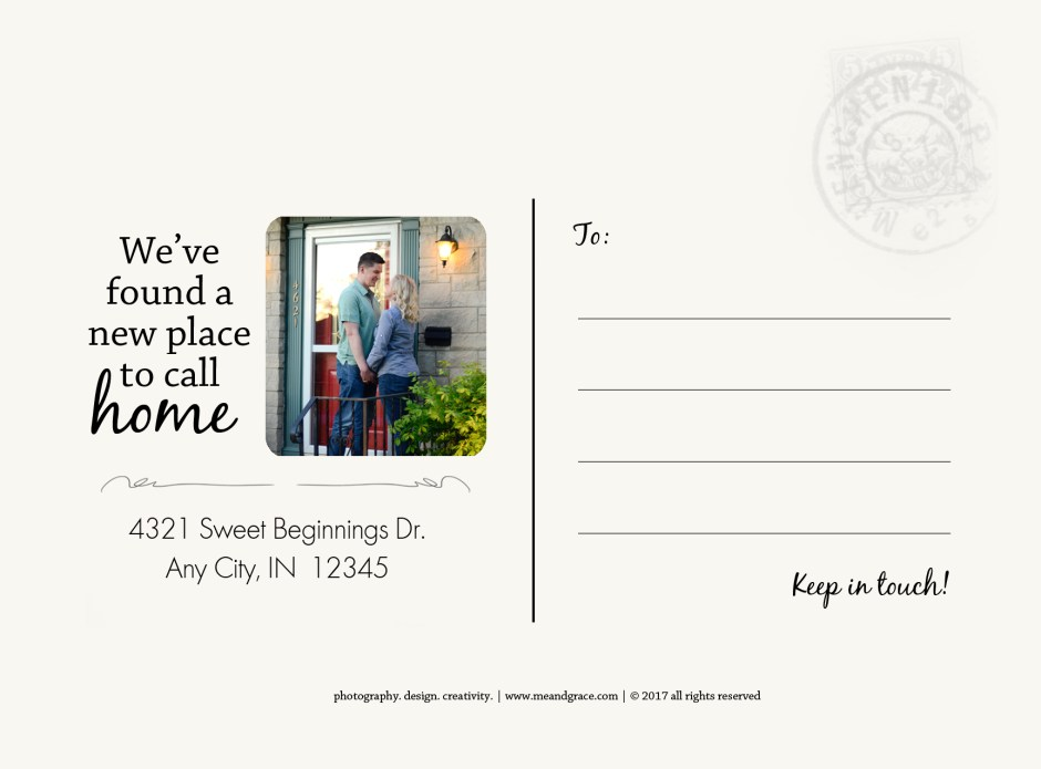 We've Moved postcard, Babs Mullinax, me and grace, me & grace, Fort Wayne photographer, photo gifts, lifestyle photography, family photos, ideas for family photos, indoor photography, fun family photographer, long-distance family