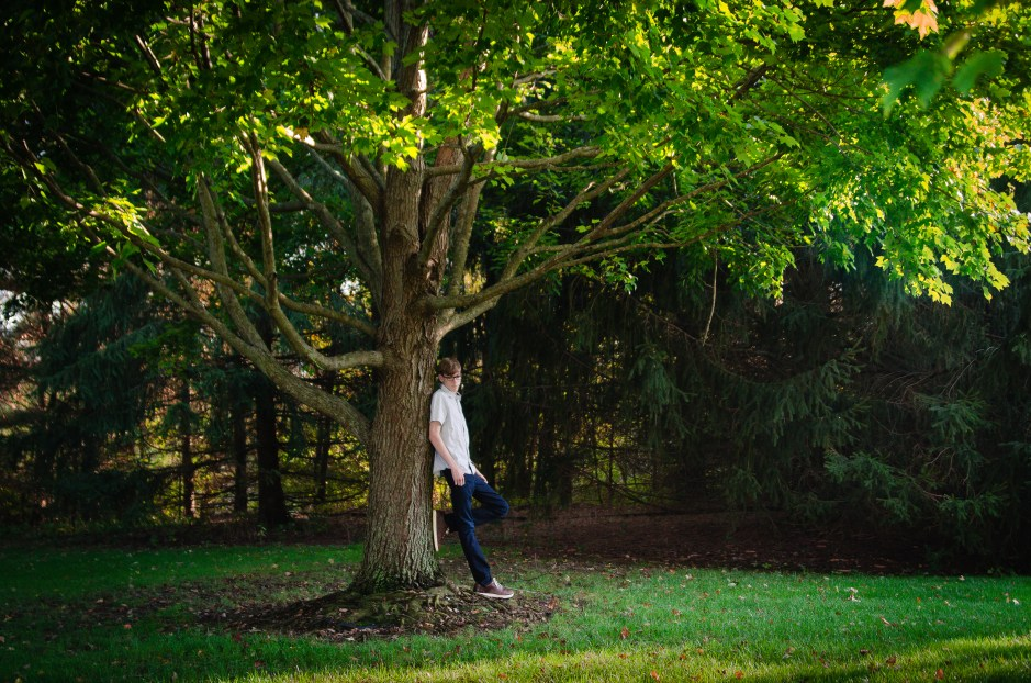 Senior guy under a tree, Babs Mullinax, me and grace, me & grace, Fort Wayne photographer, photo gifts, lifestyle photography, family photos, ideas for family photos, indoor photography, fun family photographer, long-distance family