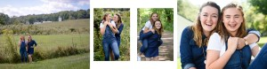 Collage of sisters in the countryside, Babs Mullinax, me and grace, me & grace, Fort Wayne photographer, photo gifts, lifestyle photography, family photos, ideas for family photos, indoor photography, fun family photographer, long-distance family