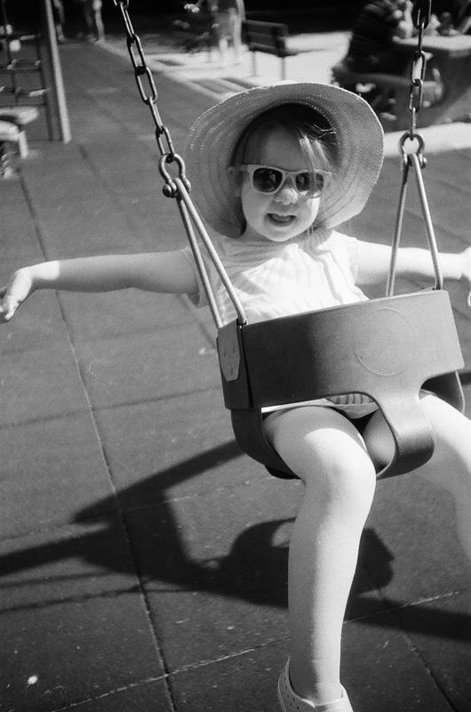 The little one on a swing