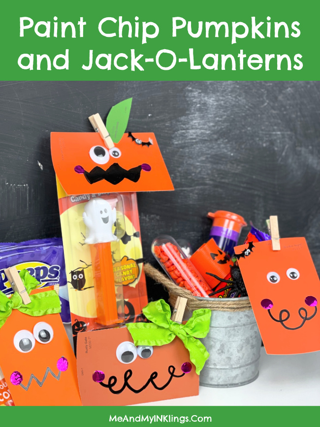 Paint Chip Pumpkins and Jack-O-Lantern Patch Craft #KIDCRAFT #ClassroomHalloweenCraft #PaintChipCraft