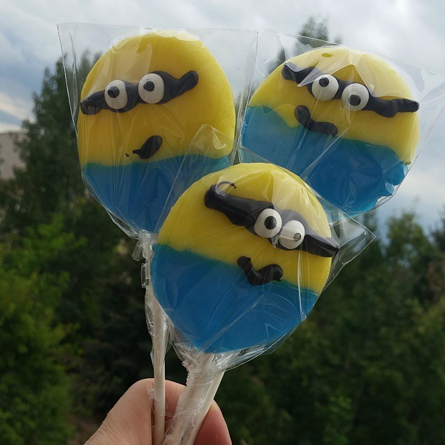 @rypwalters rocks!  He made hard candy lollipops especially for @zozowildchild and her #zoesminionbash party this week.  Double digits is big time.  It's when all whining ends, right?! #lollipops