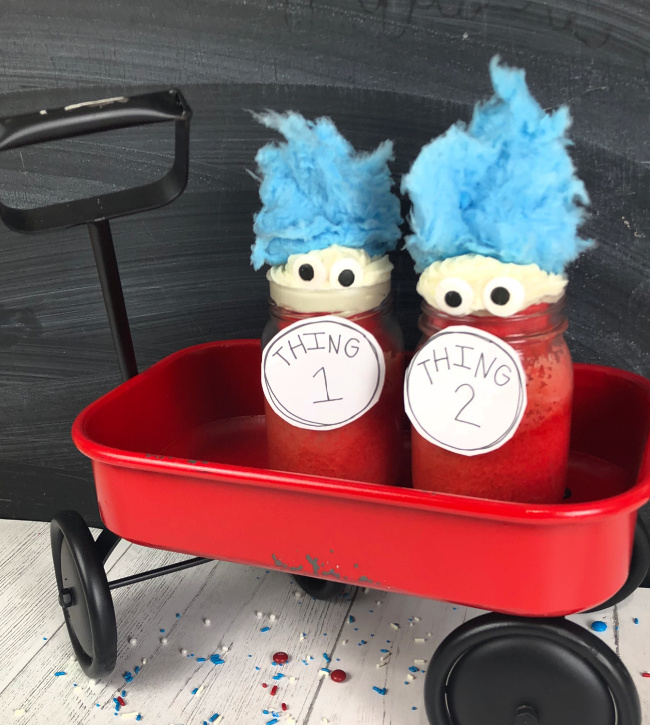 Dr Seuss Thing Cupcakes and Free Printable