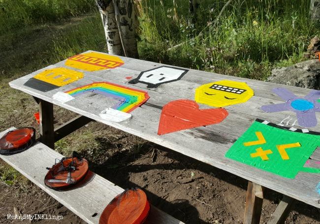 Masking Tape Place Mats on Picnic Table