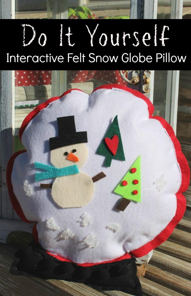 Interactive Felt Snow Globe Pillow 2