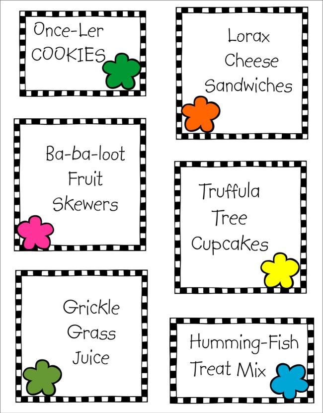 Lorax Food Labels Free Printable Dr Seuss