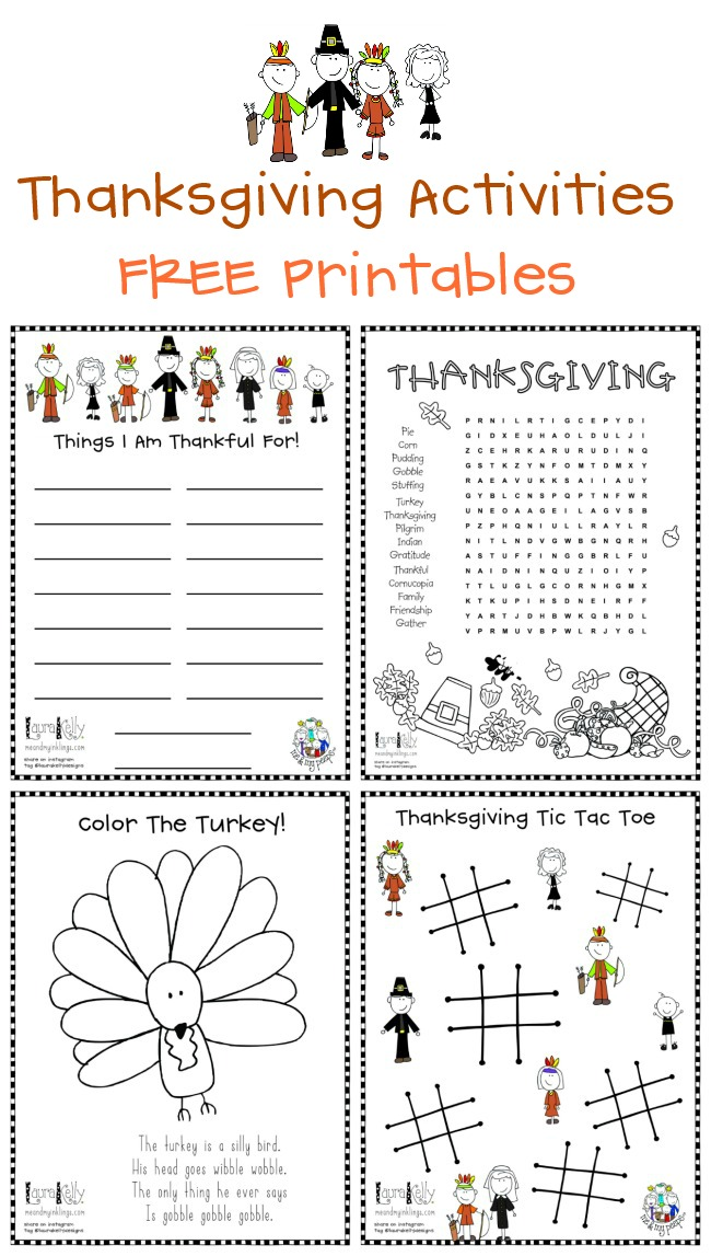 Four FREE Thanksgiving Printable Acvtivies from Laura Kelly Designs