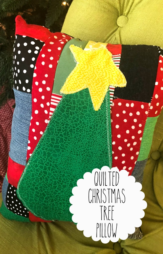 Quilted Fabric Christmas Tree Throw Pillow From Scraps
