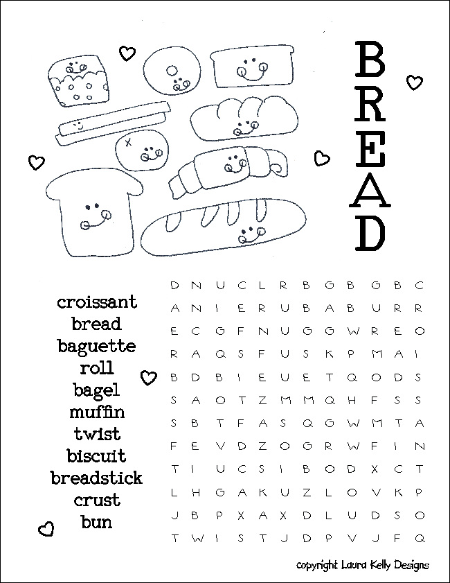 Bread Word Search wordsearch Puzzle Printable