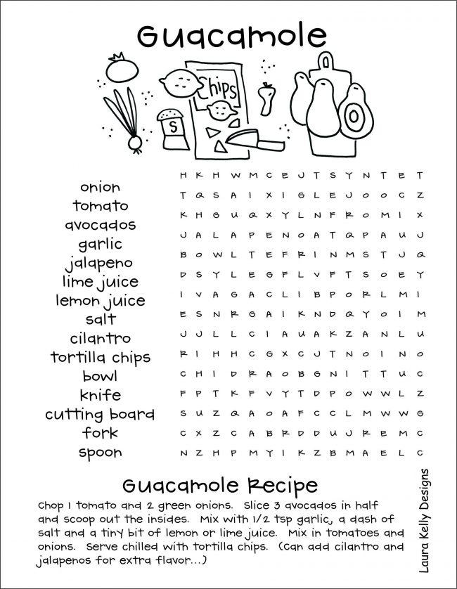Guacamole Word Search and Recipe