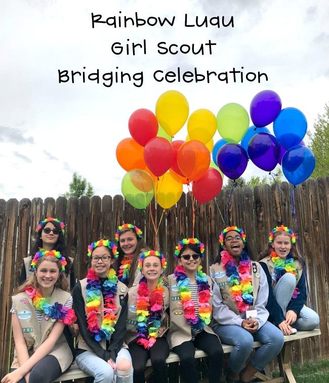 Rainbow Luau Girl Scout Bridging Celebration