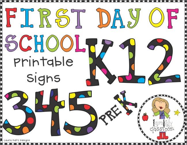 First Day of School Printable Signs Grades PreK through 5