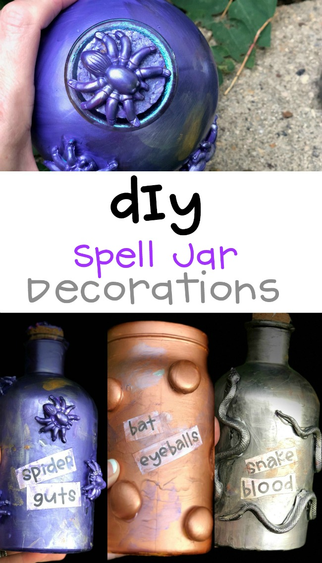 DIY Spell Jar Decorations with Matte Metallics for Halloween and Harry Potter Parties