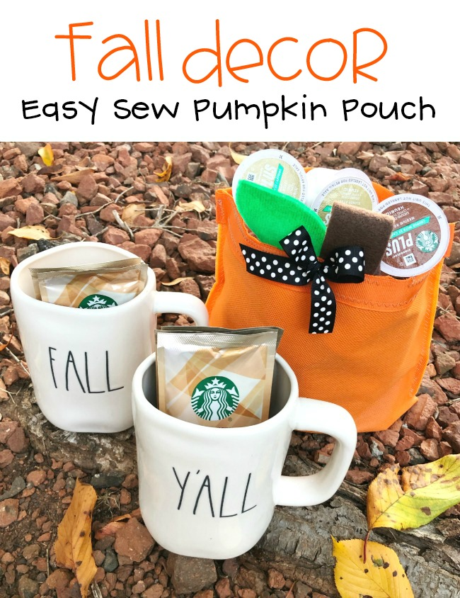 Easy Sew Pumpkin Pouch Decoration for Halloween and Fall