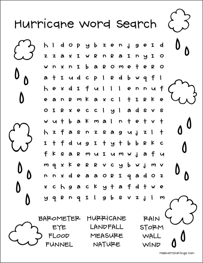 Hurricane Word Search Puzzle Free Printable