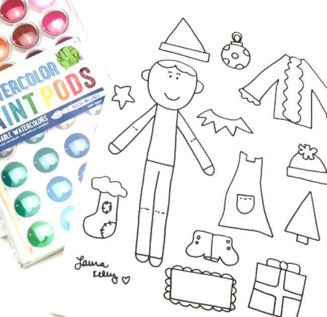Elf on the Shelf Paper Doll Free Printable with Watercolors