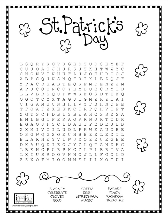 Saint Patricks Day Word Search Puzzle St. Patrick's Day Wordsearch