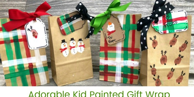 Adorable Kid Painted Gift Wrap