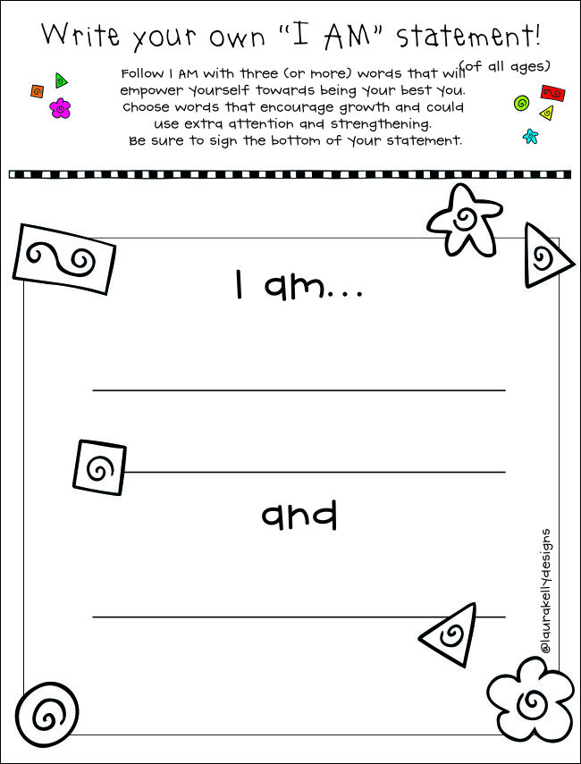 Creating I AM Statements with Kids Free Printable