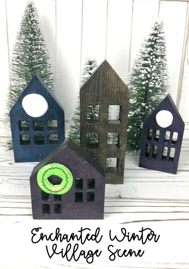 Enchanted Winter Village Scene DecoArt