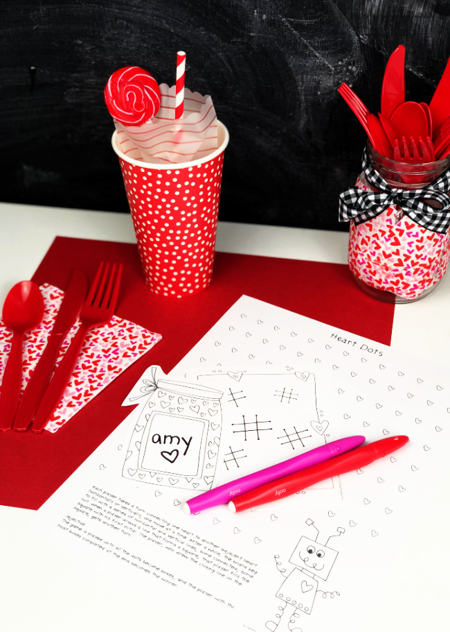 Valentine Place Setting for Kids Free Printables