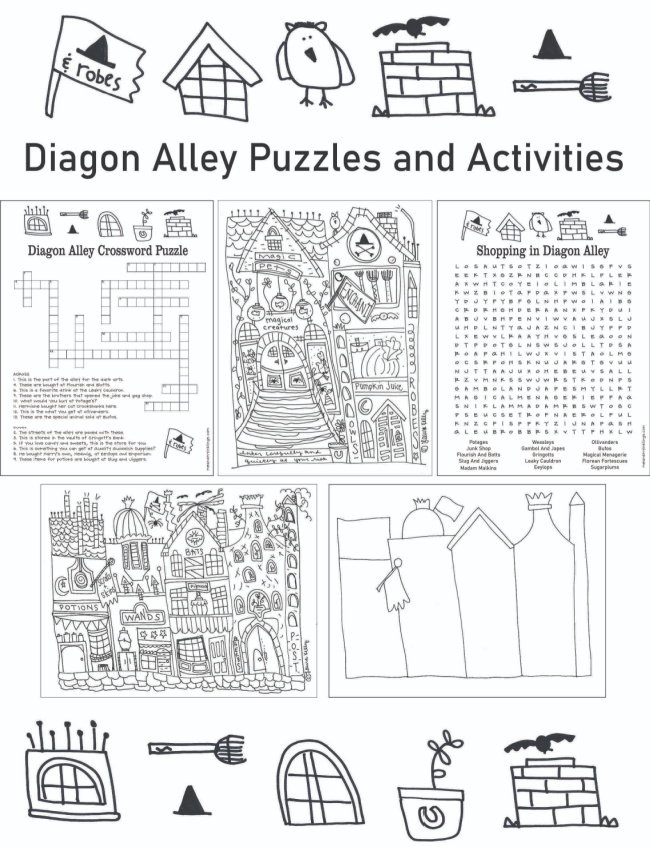 Diagon Alley Puzzles and Activities Free Harry Potter #harrypotterprintables #laurakellydesigns