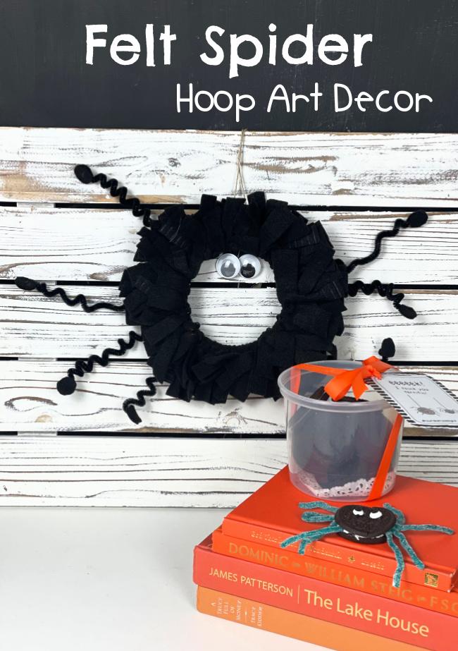 Felt Spider Hoop Art Decor #kidcraft #spidercraft #feltcraft