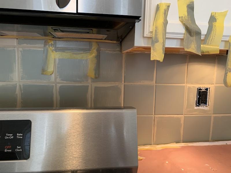 painting our 90 s tile backsplash