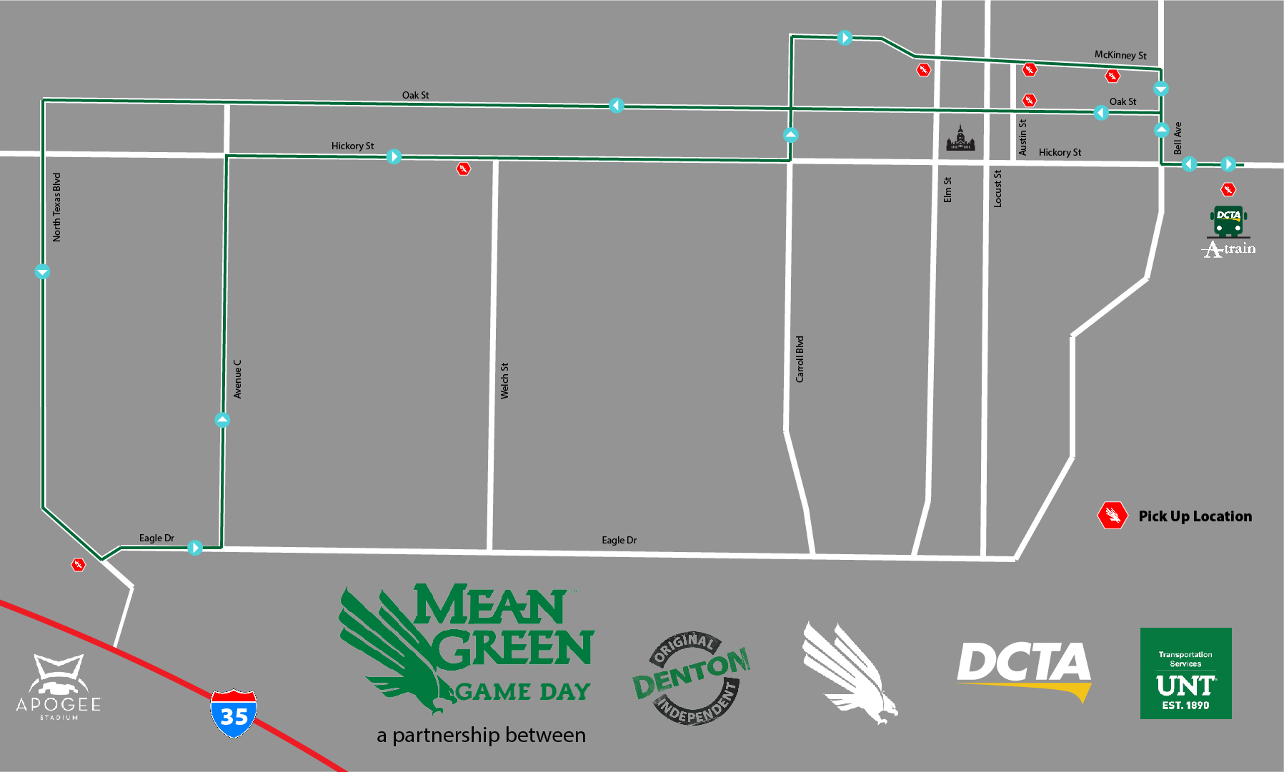 hight resolution of mean green game day shuttle map