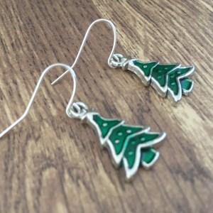 Green enamel christmas tree earrings