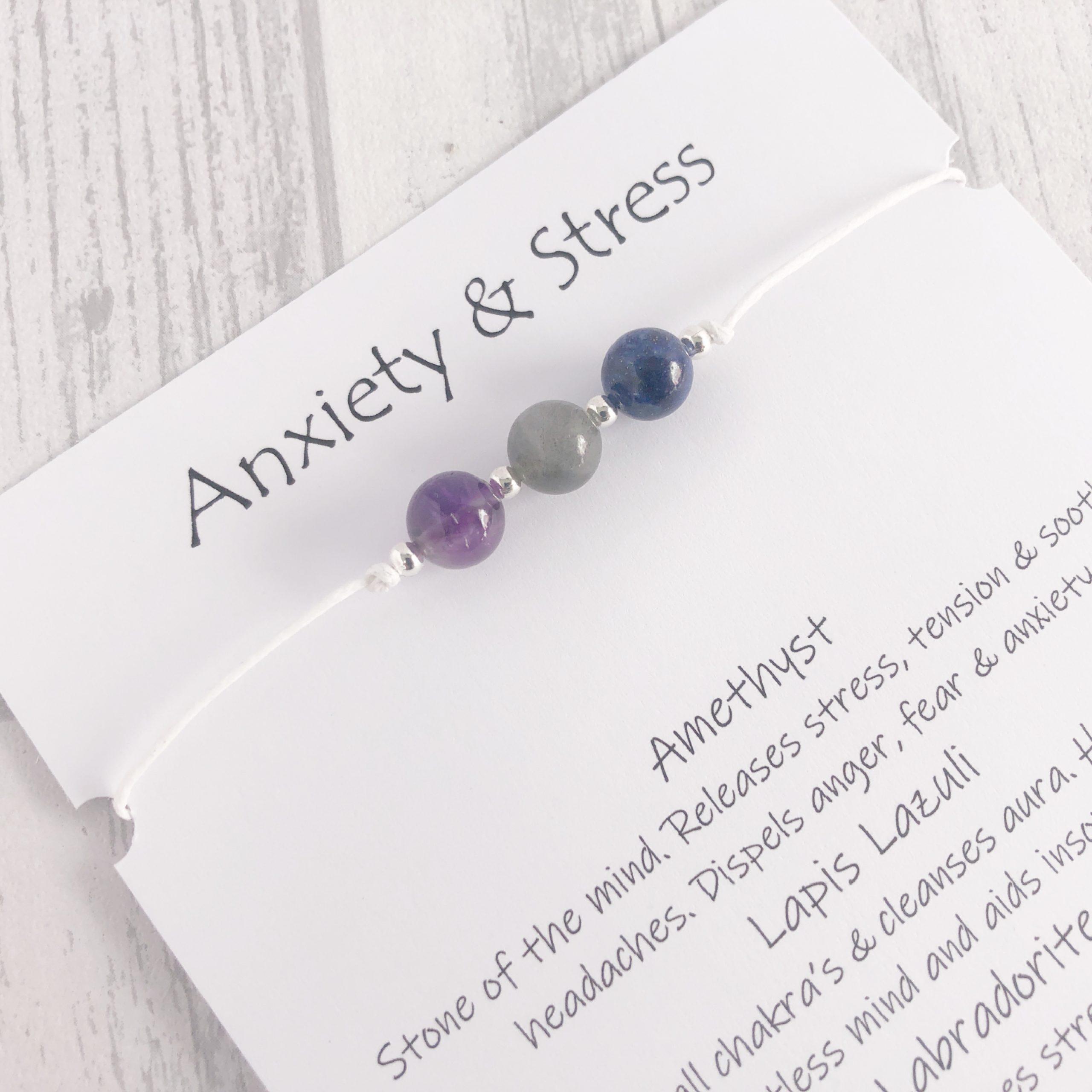 DEPRESSION SUPPORT BRACELET SELF ESTEEM ANXIETY HEALING GEMSTONE GIFT CARD UK