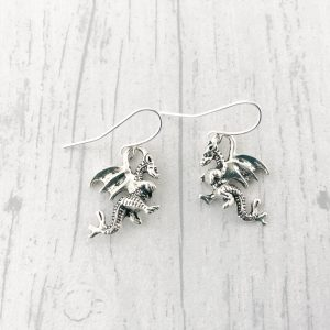 Silver Dragon Earrings Mythical Creature