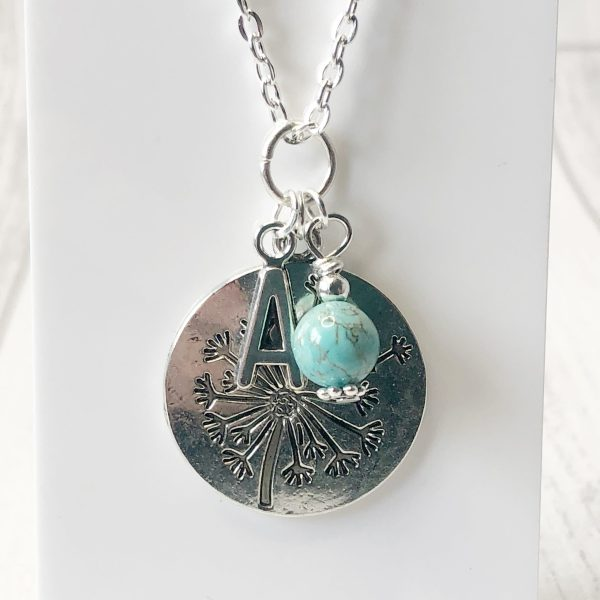 Dandelion Necklace personalised with initial letter and birthstone